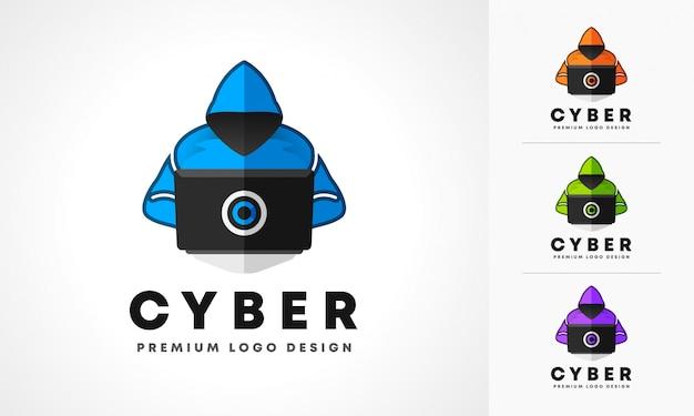 Création De Logo De Cyber Pirate Vecteur Premium