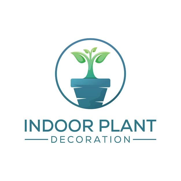 Création De Logo De Décoration De Plante D'intérieur, Modèle De Conception De Logo D'arbre De Croissance Vecteur Premium