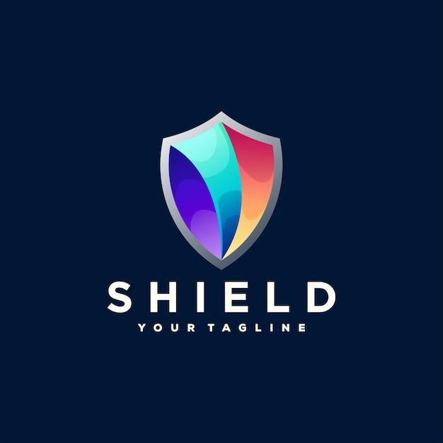 Création De Logo Dégradé De Couleur Bouclier Vecteur Premium