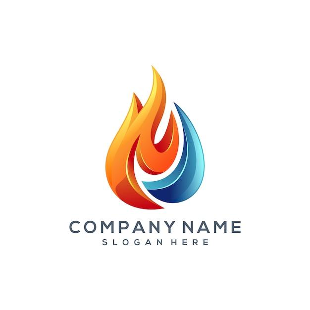 Création de logo eau de feu Vecteur Premium