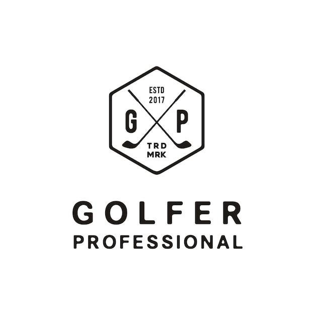 Création de logo élégant simple et rétro golf vintage Vecteur Premium