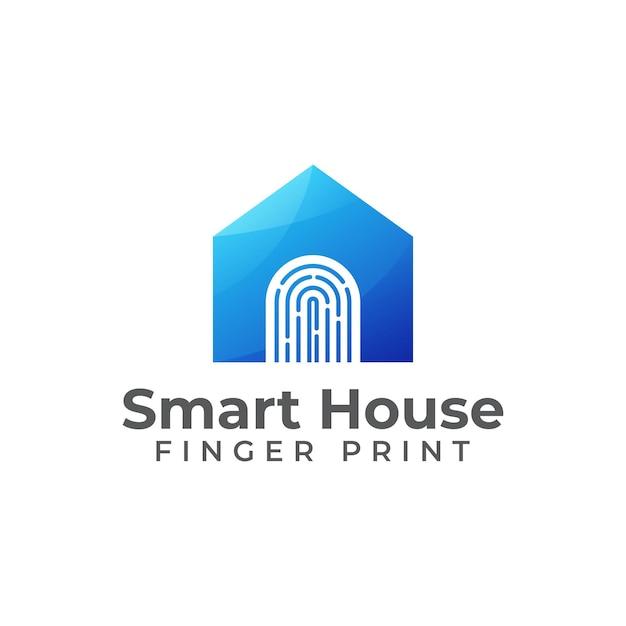 Création De Logo à Empreinte Digitale Combinée Maison Intelligente Vecteur Premium