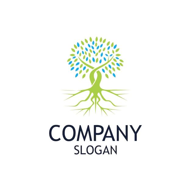 Création de logo enracinée dans les arbres Vecteur Premium