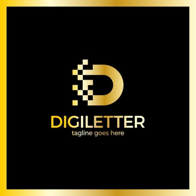 Création de logo d'entreprise lettre pixel lettre d Vecteur Premium
