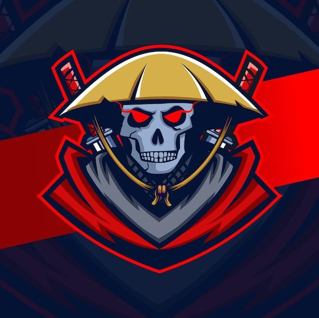 Création De Logo Esport Mascotte Crâne De Samouraï Sombre Vecteur Premium