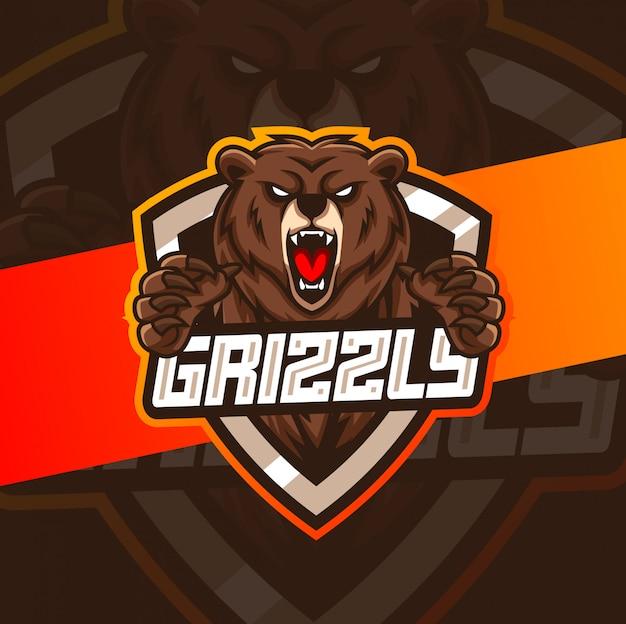 Création De Logo Esport Mascotte Grizzly Vecteur Premium