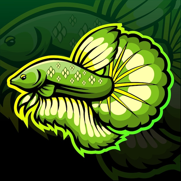 Création De Logo Esport Mascotte Poisson Betta Vecteur Premium