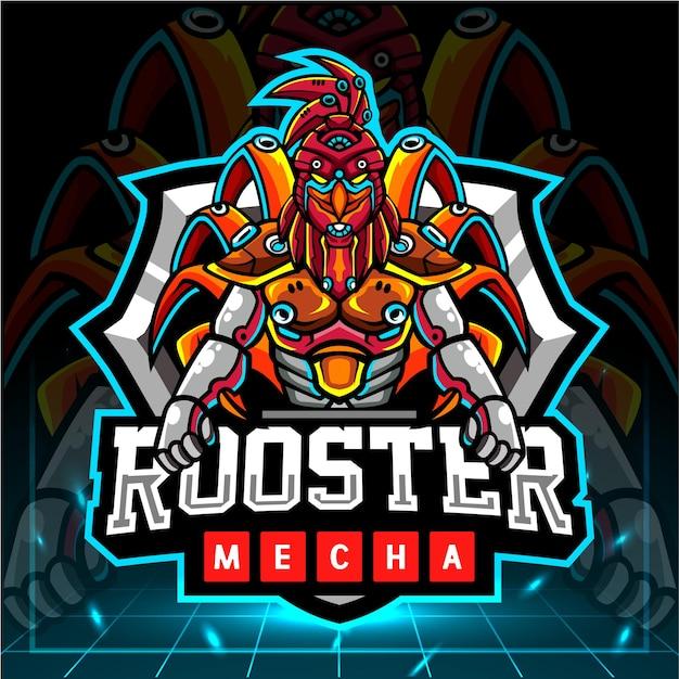 Création De Logo Esport De Mascotte Robot Mecha Coq Vecteur Premium