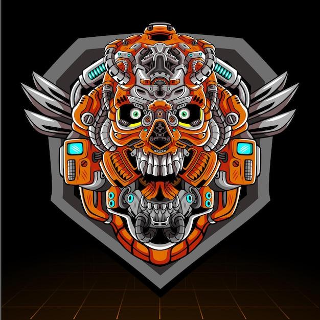 Création De Logo Esport Mascotte Robot Mecha Tête De Crâne Vecteur Premium