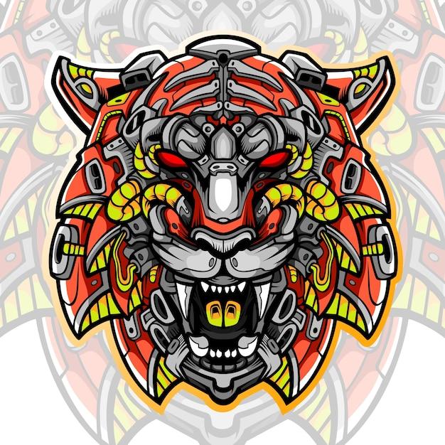 Création De Logo Esport Mascotte Tête De Tigre Vecteur Premium