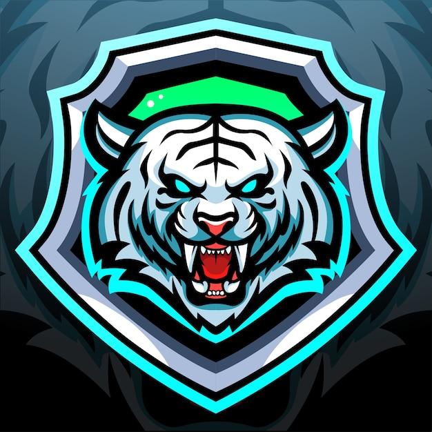 Création De Logo Esport Mascotte Tigre Blanc Vecteur Premium