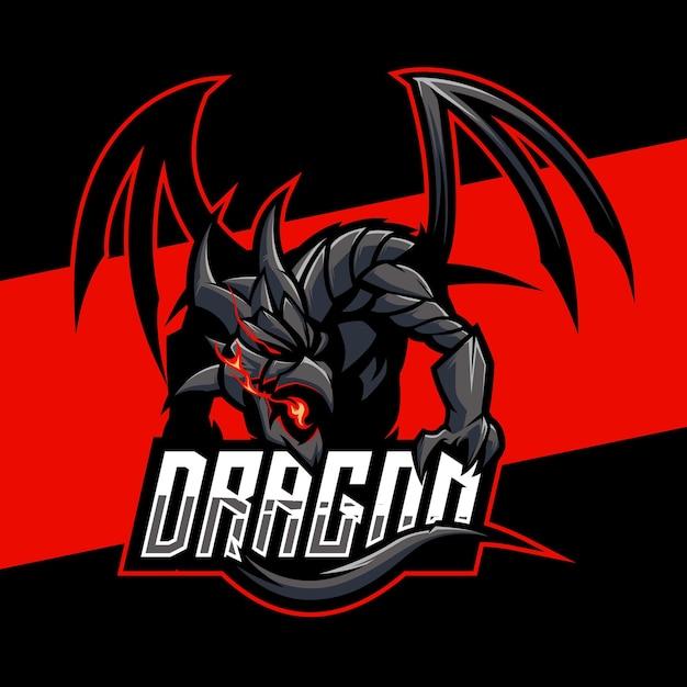 Création De Logo Esports Dragon Cruel. Illustration De La Conception De Mascotte De Dragon Cruel. Conception De L'emblème Vecteur Premium