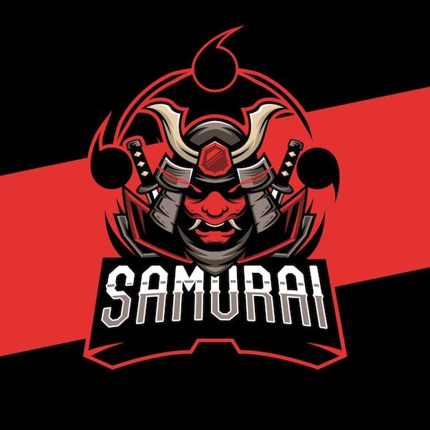 Création De Logo Esports Masque Samouraï. Illustration De La Mascotte De Masque De Samouraï Vecteur Premium