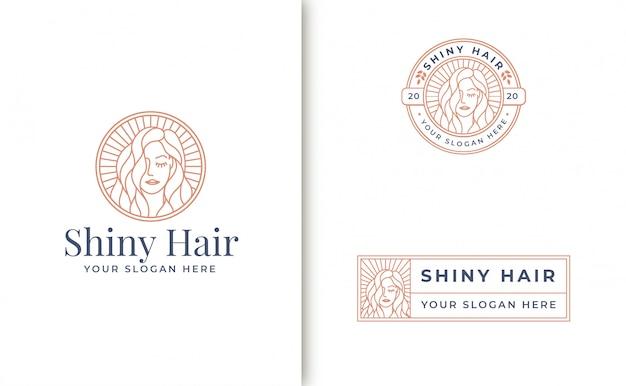 Création De Logo Femme Art Ligne Vintage Vecteur Premium