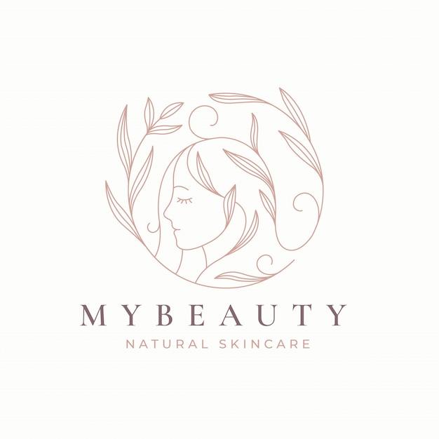 Création De Logo Femmes Art Floral Ligne Vecteur Premium