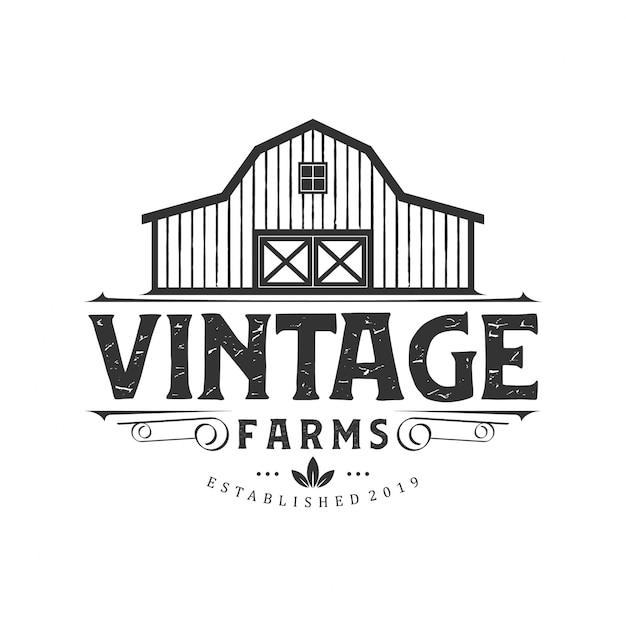 Création de logo de ferme vintage Vecteur Premium