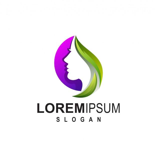 Création de logo fille pour salon de beauté Vecteur Premium