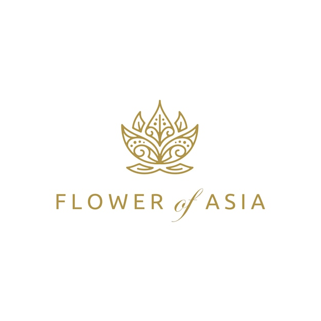 Création de logo de fleur de lotus asiatique doré Vecteur Premium
