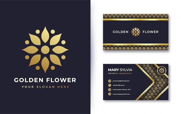 Création De Logo De Fleur D'or Abstrait Avec Carte De Visite Vecteur Premium