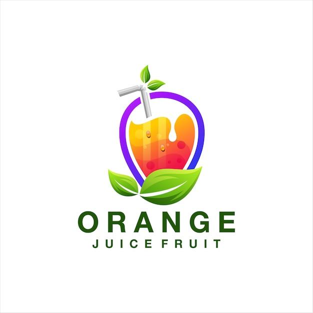 Création De Logo De Fruits De Jus D'orange Vecteur Premium
