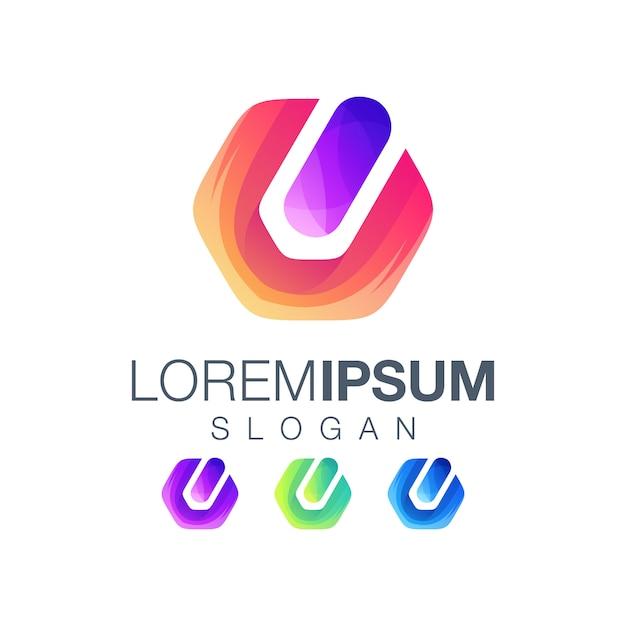 Création de logo gardient icône bouton d'alimentation Vecteur Premium