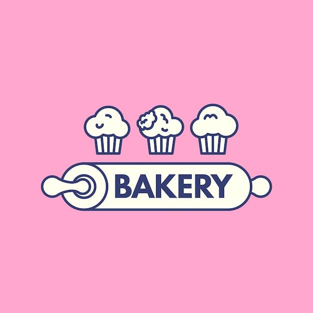 Création De Logo De Gâteau De Boulangerie Avec Cupcake Vecteur gratuit