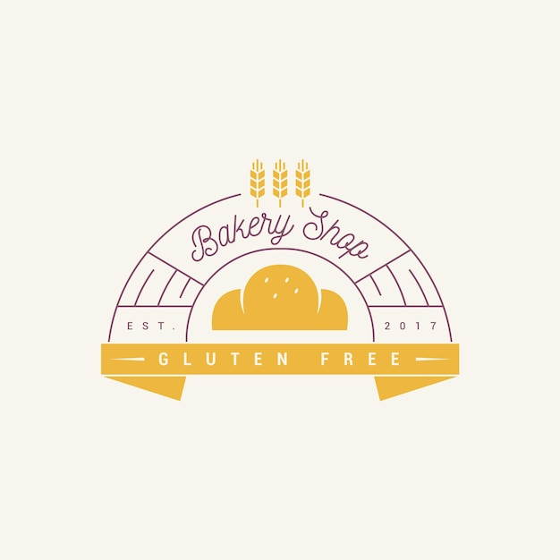 Création De Logo De Gâteau De Boulangerie Sans Gluten Vecteur Premium