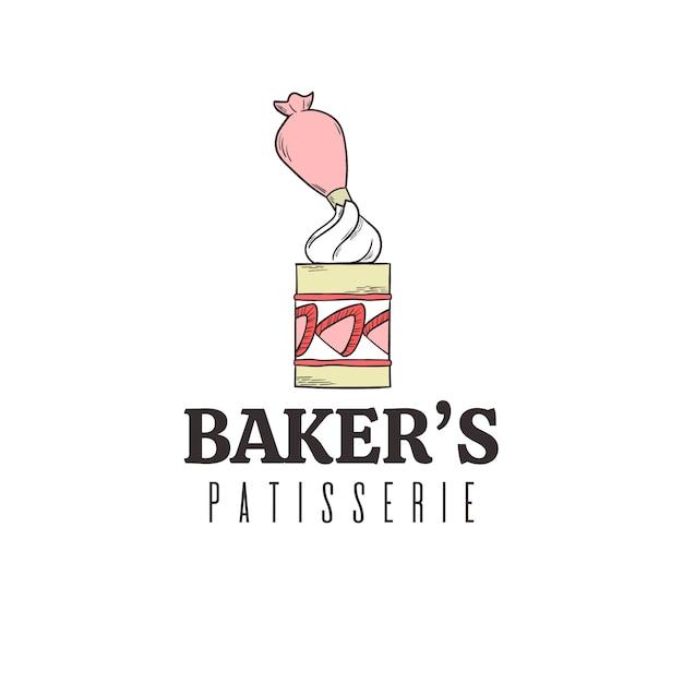 Création De Logo De Gâteau De Boulangerie Vecteur Premium