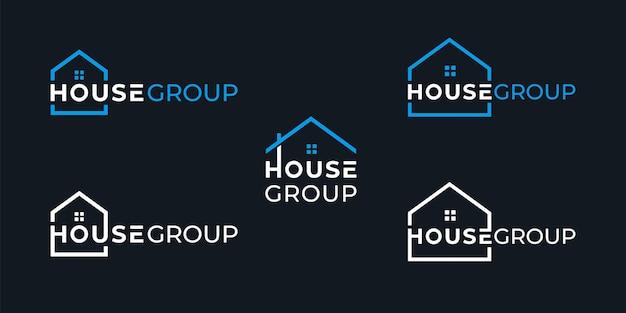Création De Logo De Groupe De Maison Créative Simple Vecteur Premium