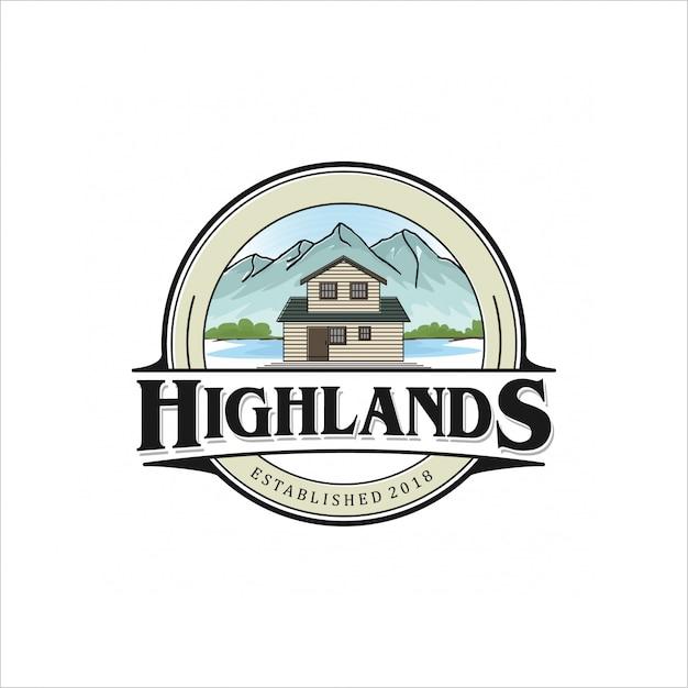 Création de logo highlands Vecteur Premium