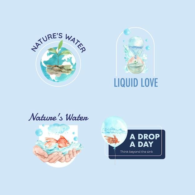 Création De Logo Avec Illustration Aquarelle De Concept De Journée Mondiale De L'eau Vecteur gratuit