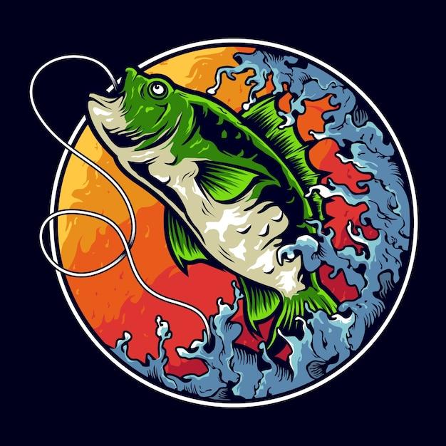 Création De Logo Illustration Pêche Basse Vecteur Premium