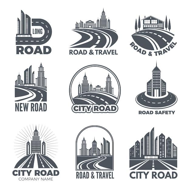 Création De Logo Avec Des Illustrations De Routes Et De Bâtiments Vecteur Premium