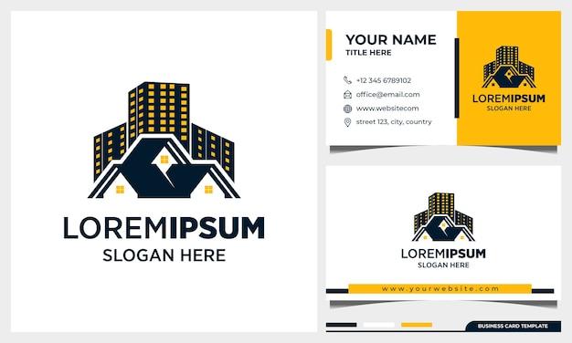 Création De Logo Immobilier, Bâtiment D'architecture Avec Modèle De Carte De Visite Vecteur Premium