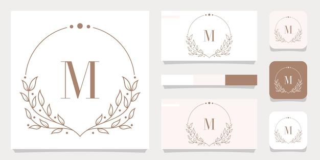 Création De Logo De Luxe Lettre M Avec Modèle De Cadre Floral, Conception De Carte De Visite Vecteur Premium