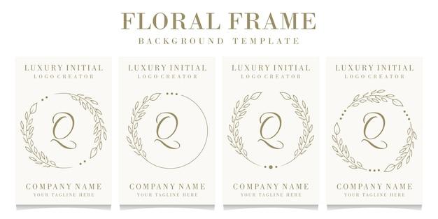 Création De Logo De Luxe Lettre Q Avec Modèle De Fond De Cadre Floral Vecteur Premium