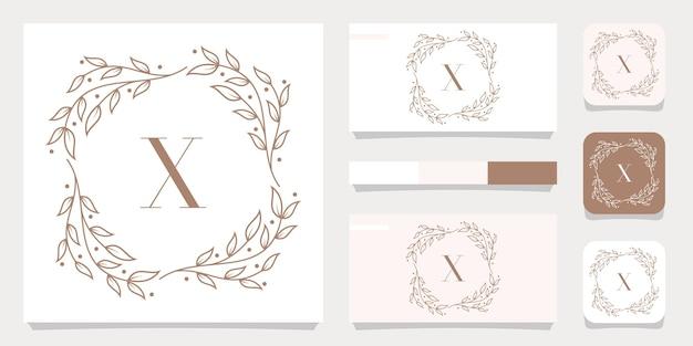 Création De Logo De Luxe Lettre X Avec Modèle De Cadre Floral, Conception De Carte De Visite Vecteur Premium