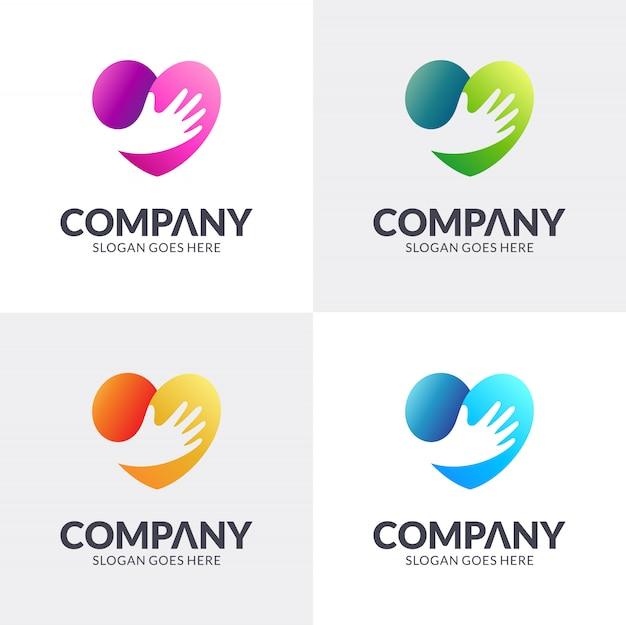 Création De Logo De Main De Coeur Vecteur Premium