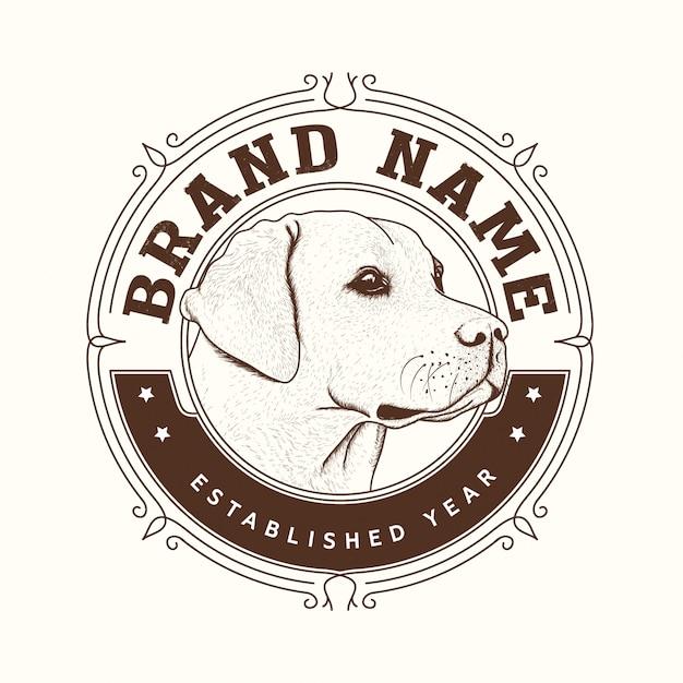 Création de logo de marque de chien Vecteur Premium