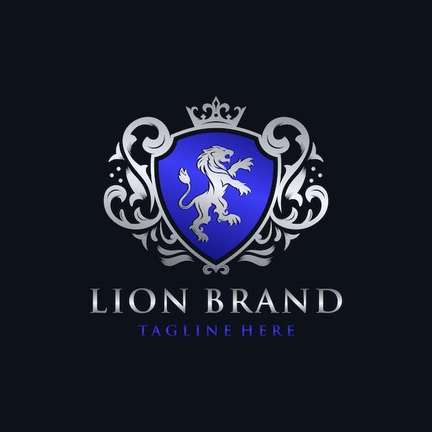 Création De Logo De Marque Lion Héraldique Vecteur Premium