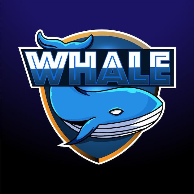 Création De Logo De Mascotte De Baleine Esport Vecteur Premium
