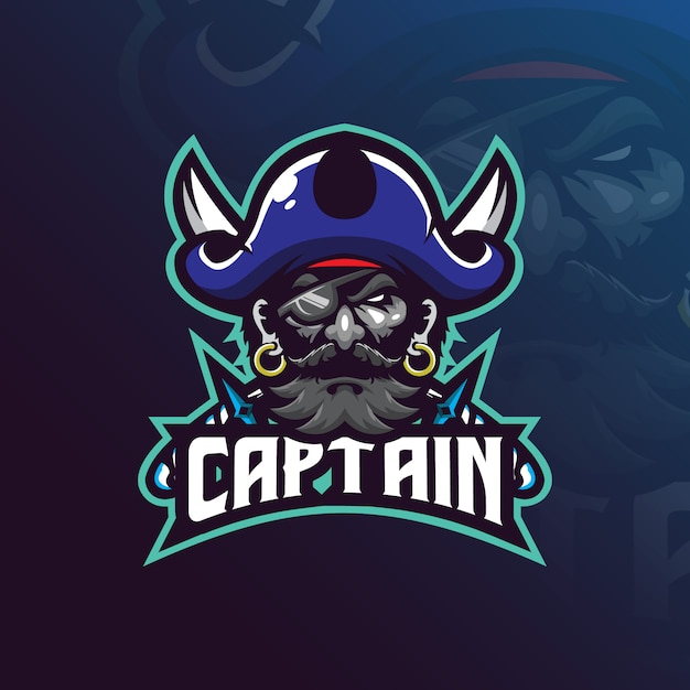 Création De Logo Mascotte Capitaine Pirates Avec Style Concept Illustration Moderne Vecteur Premium