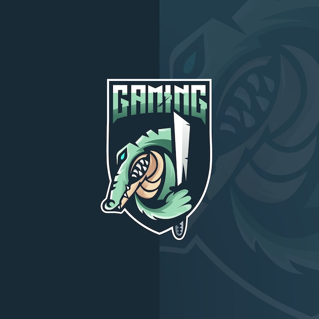 Création De Logo De Mascotte Crocodile E Sport Vecteur Premium