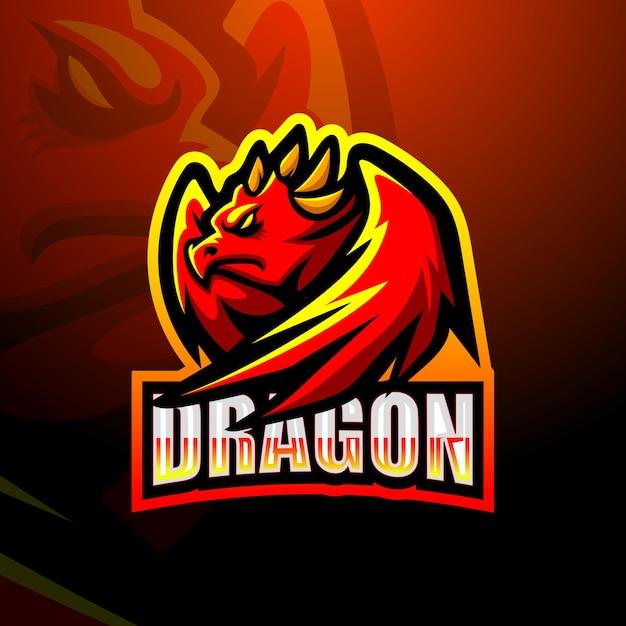 Création De Logo De Mascotte De Dragon Vecteur Premium