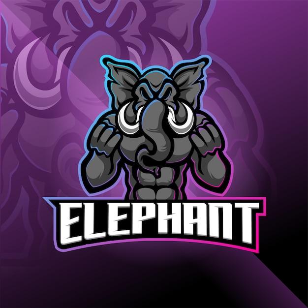 Création De Logo De Mascotte éléphant Esport Vecteur Premium