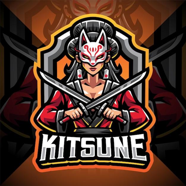 Création De Logo De Mascotte Esport Fille Kitsune Vecteur Premium