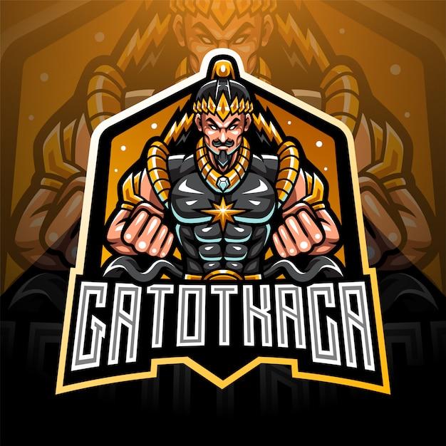 Création De Logo De Mascotte Gatotkaca Esport Vecteur Premium