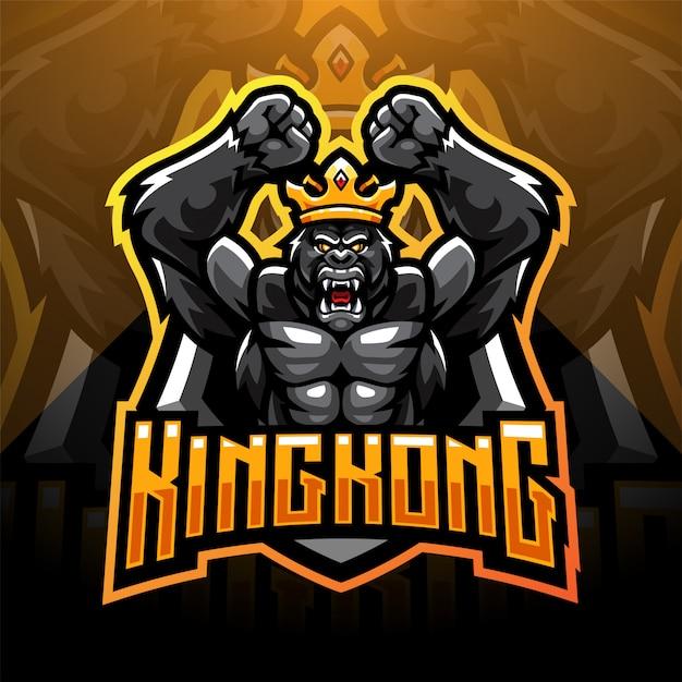 Création De Logo De Mascotte Kingport Kong Vecteur Premium
