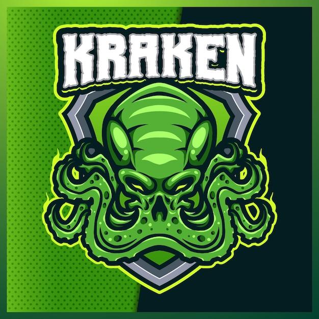 Création De Logo Mascotte Kraken Octopus Esport Et Sport Avec Illustration Moderne. Illustration De Tentacule De Calmar Vecteur Premium