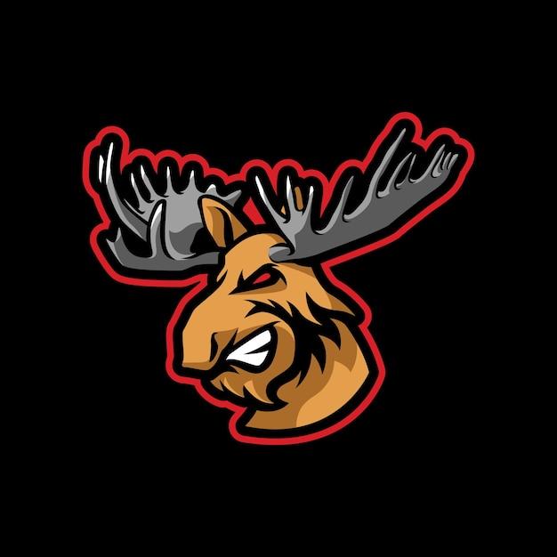 Création De Logo De Mascotte Moose Vecteur Premium